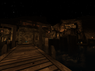 Tortuga - Harbortown at night